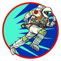 astronaut runs forward round logo symbol icon