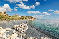 The beach Mavra Volia in Chios, Greece