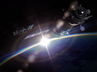 Space maneuver at the Earth orbit