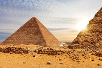 The Pyramid of Cheops and the Pyramid of Menkaure, Giza, Egypt