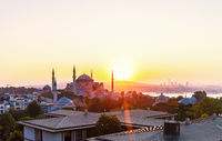 Hagia Sophia and Istanbul roofs at sunrise, beautiful view