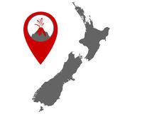 Karte von Neuseeland mit Anzeiger für Vulkan - Map of New Zealand with volcano locator
