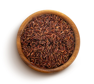 Red rice isolated on white background with clipping path