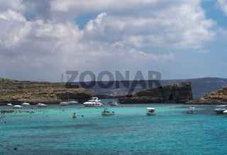 Comino Island, Malta pleasure boats moored at the Blue Lagoon.