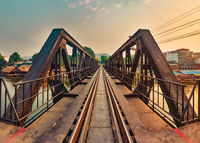 The bridge on the river Kwai. Railway in Kanchanaburi, Thailand