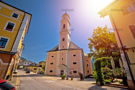 Town of Berchtesgaden church and street view