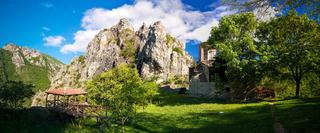 Exterior view to St. Nicola Shishevski monastery at the mountains above Matka Canyon, North Macedonia