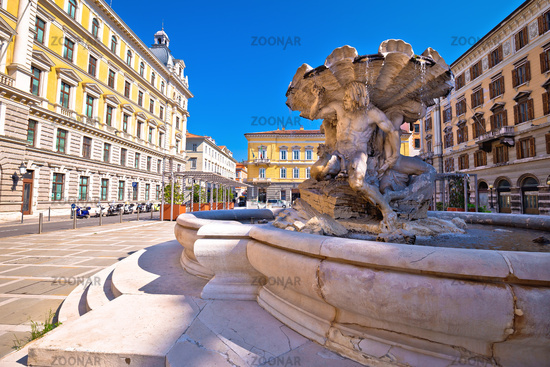 Piazza Vittorio Veneto square and fountain in city of Trieste