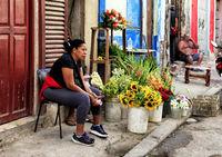 Woman selling bouquets of flowers on the street in Havana, Cuba