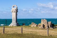 Huge White Tortoise Memorial Monument looking to the sea, near Ganjeolgot. Easternmost Point of Peninsula in Ulsan, South Korea. Asia