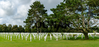 panorama view of the American Cemetery at Omaha Beach in Normandy