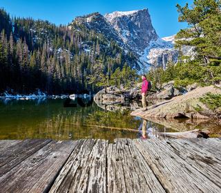 Tourist near Dream Lake in Colorado