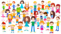 cartoon children huge group background