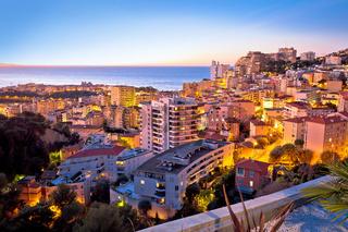 Monaco and Monte Carlo cityscape sunset view