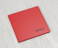 Red menu on wood table