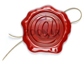 E-mail sign sealing wax stamp isolated on white background.