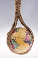 globe hanging in rope