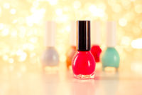 Nail polish bottles, manicure and pedicure collection