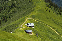 Mountain hut at Mont Joly in the hiking area of Saint-Gervais-les-Bains, Savoie, France