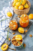 Delicious apricot jam with thyme and almonds.