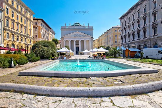 Trieste Piazza Sant Antonio Nuovo fountain and church colorful view