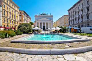 Trieste Piazza Sant Antonio Nuovo fountain and church colorful view