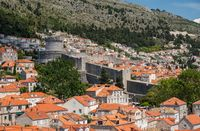Residential homes and apartments outside city walls of Dubrovnik old town