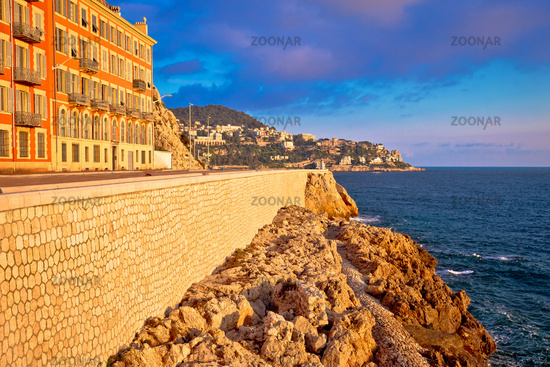 City of Nice waterfront sunset view