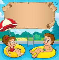 Small parchment and kids in pool
