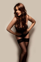 Beautiful woman in black lingerie and stockings