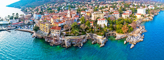 Town of Lovran and Lungomare sea walkway aerial panoramic view