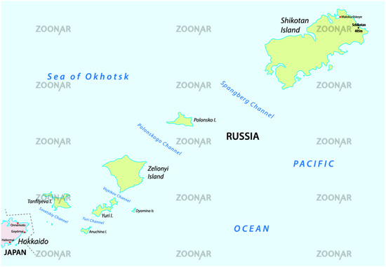 vector map of russian island group Habomai
