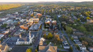 Aerial Perspective Over Downtown Lynchburg Virginia at Days End