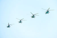 Helicopters in the blue sky