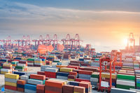 container terminal in sunset