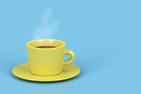 Yellow coffee cup with hot espresso
