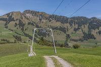 Guide masts of a ski lift on the Wirzweli, Nidwalden, Switzerland, Europe