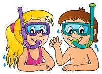 Children snorkel divers theme 1