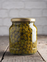 Organic peas in a jar