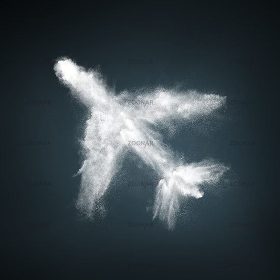 Abstract design of white powder particles airplane shape over dark background