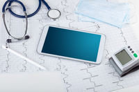 Medicine and modern technology concept with copyspace on tablet