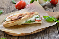 Grilled Panini with tomato and mozzarella