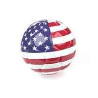 Soccer ball with the flag of America