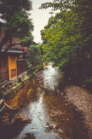 Traditional japanese houses on Shirakawa river, Gion district, Kyoto, Japan
