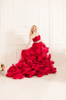 Woman in red cloudy dress