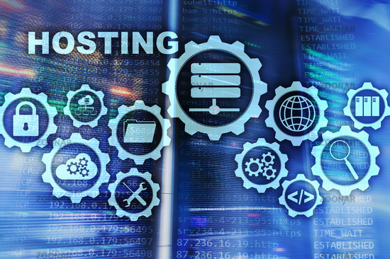 Web Hosting Technology Internet and Networking Concept. On Server room background. Virual screen