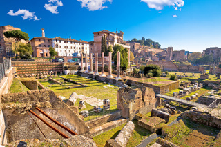 Ancient Rome Forum Romanum and Palatine hill scenic view