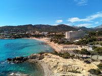 Aerial view Paguera or Peguera beach Balearic Islands, Palma de Mallorca, Spain