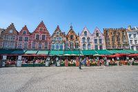 The market square of Bruges in Belgium