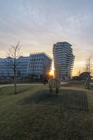 View at Marco Polo Tower and Unilver office building from playground Grasbrookpark in Hamburg.